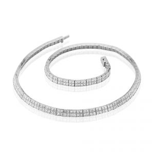 Two rows of lovely princess cut Diamonds in a charming 18ct White Gold channel set necklet