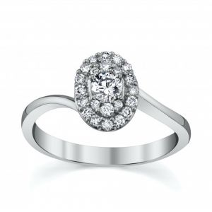 18ct White Gold Round Brilliant Cut Diamond with Diamond Surround and Twist Shoulders 0.25CT