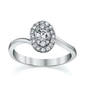 18ct White Gold Round Brilliant Cut Diamond with Diamond Surround and Twist Shoulders 0.40CT