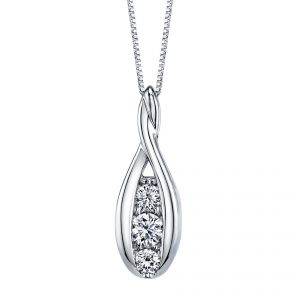 18ct White Gold Sirena Diamond Pendant 0.33ct