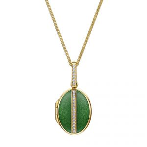 18ct Yellow gold Oval Diamond & Green Enamelled Locket. 18ct Gold with pave set diamonds on an 18ct gold chain.