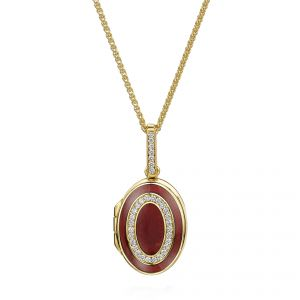 18ct Yellow gold Oval Diamond & Red Enamelled Locket