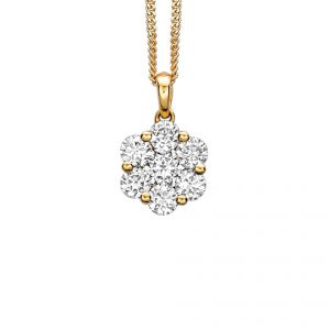 RUDELLS DAISY 18CT YELLOW GOLD DIAMOND PENDANT AND CHAIN 1.00CT