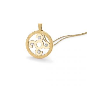 Rudells Wheel Large 18ct Yellow Gold and Diamond Pendant
