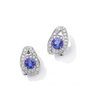 Earrings - 18ct White gold tanzanite and diamond set Earrings