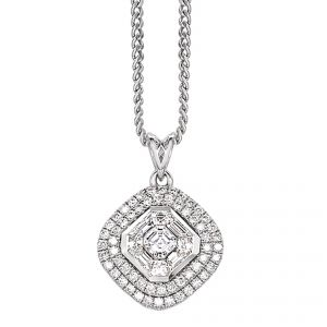 Pendant - 18ct White gold centre octagonal with diamond set surround with 2 row brilliant cut