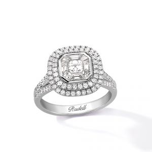 Ring - 18ct White gold centre octagonal with diamond set surround with 2 row brilliant cut with diamond set split shoulders
