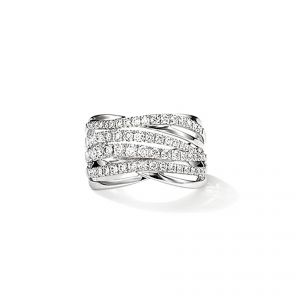 Ring - 18ct White gold 4 row diamond set cross over