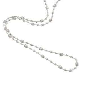 Necklet - 18ct White gold brilliant and baguette 5.67cts diamond set long
