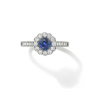 Ring - 18ct White gold round sapphire with flower diamond set surround and diamond set shoulders