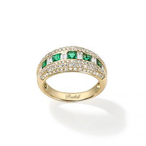 Ring - 18ct Yellow gold emerald and baguette diamond with pave diamond set egdes