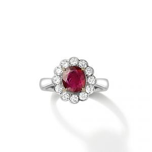 Ring - 18ct White gold ruby and diamond set