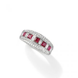 Ring - 18ct White gold ruby and baguette diamond with pave diamond set egdes