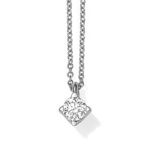 18ct white gold single stone brilliant cut pendant and chain