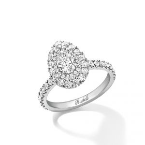 Platinum ring with pear cut centre and 2 rows of diamond set surround, diamond set shoulders.