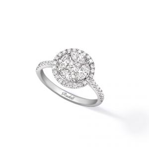 Ring - 18ct White gold princess centre with 4 marquise and brilliant cut surround and diamond set shoulders