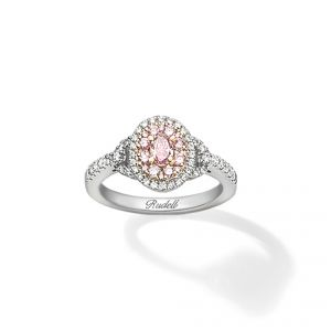 Ring - 18ct White gold ring oval pink diamond centre with pink and white diamond surround with diamond set shoulders
