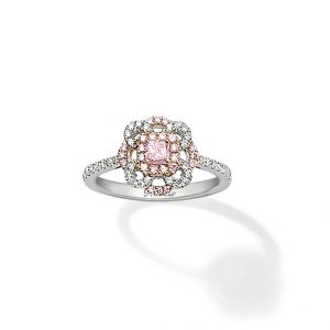 Ring - 18ct White gold princess centre with pink and white diamond surround with diamond set shoulders