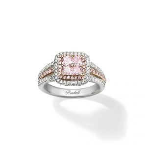 Four beautiful princess cut Diamonds surrounded by two additional rows of shimmering brilliant cut Pink and White Diamonds in 18ct Rose and White Gold WD0.37 PD0.88