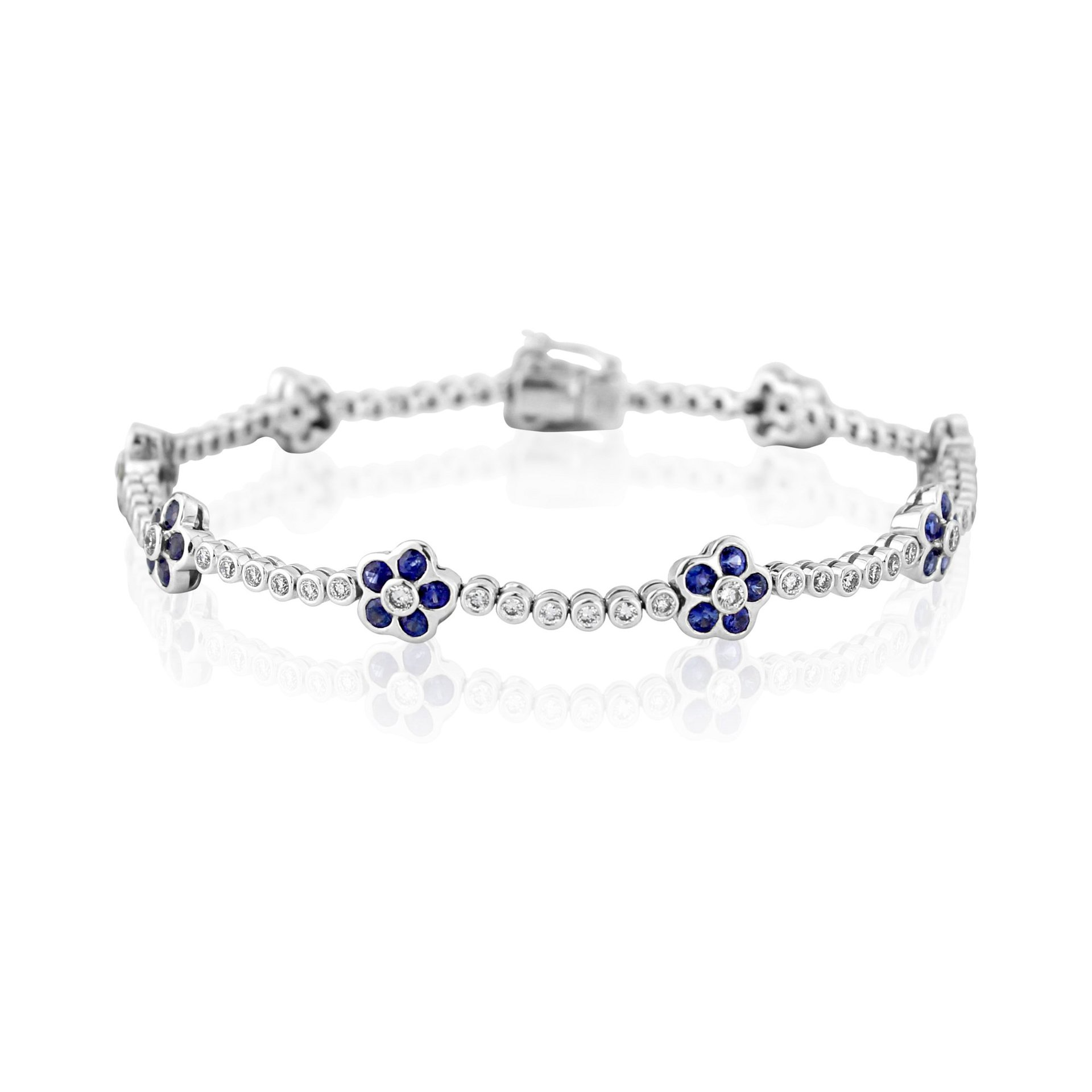 18ct White Gold Sapphire and Diamond Flower Bracelet