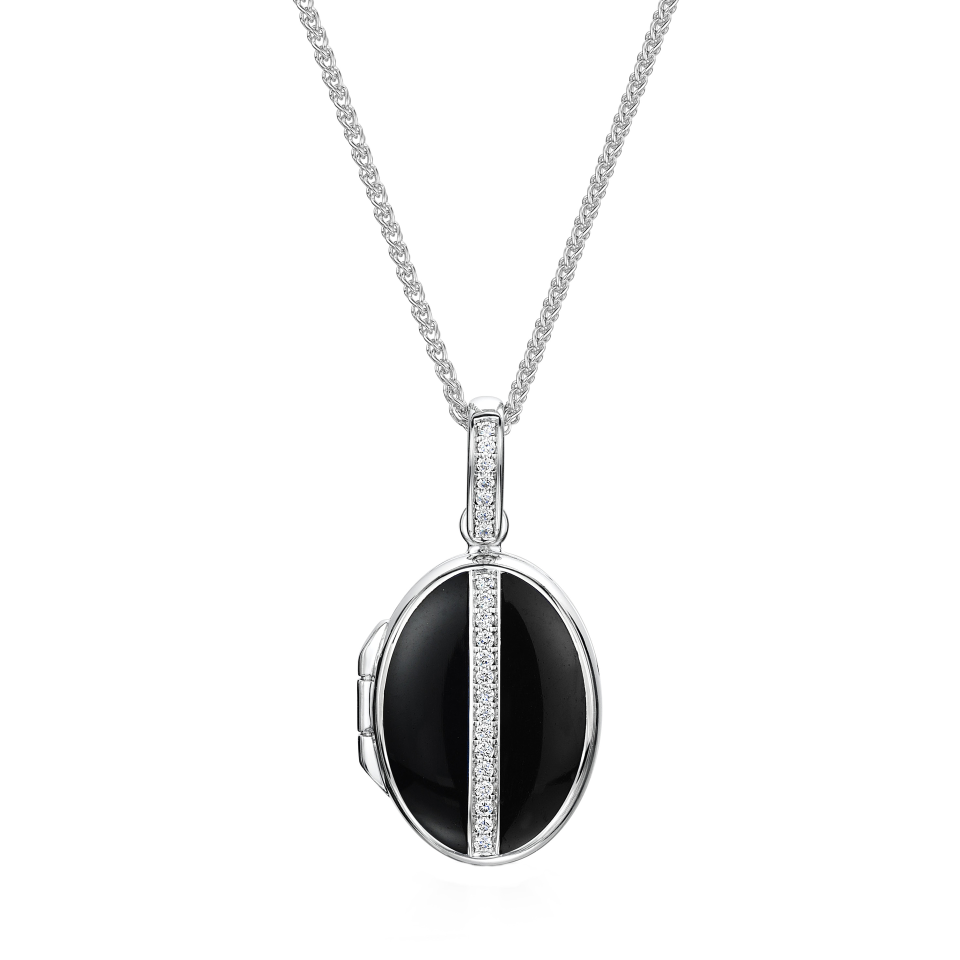 18ct White gold Oval Diamond & Black Enamelled Locket