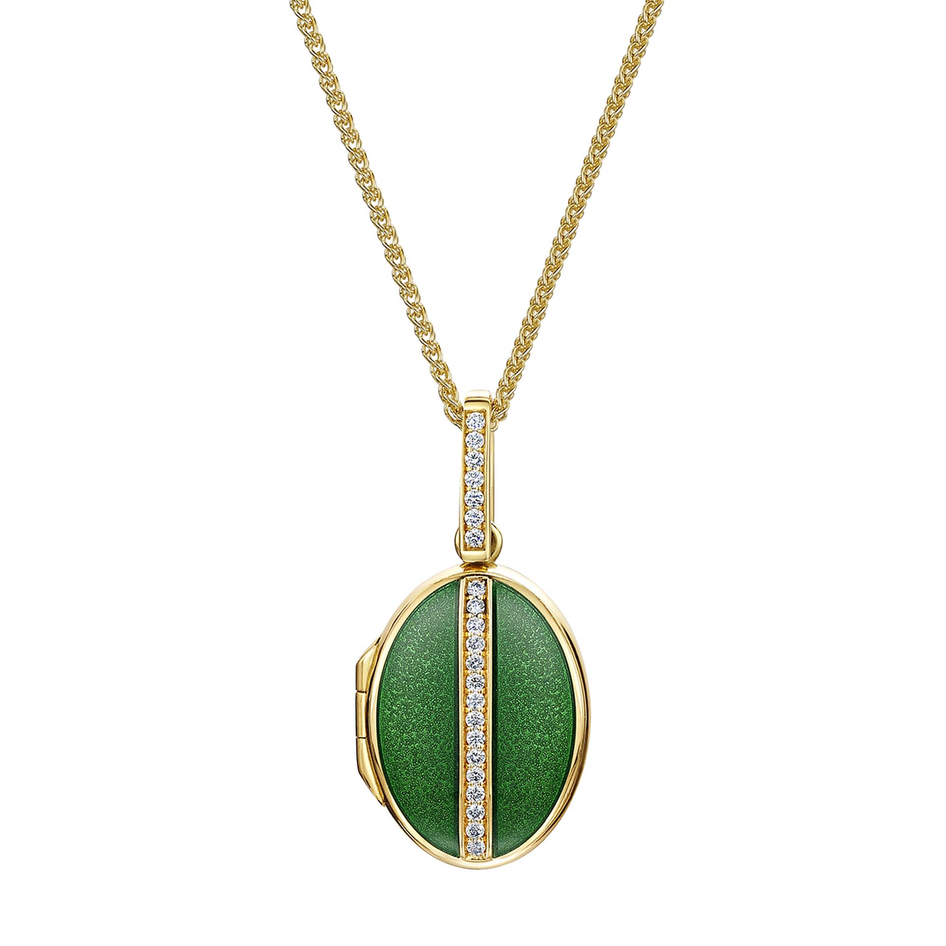 18ct Yellow gold Oval Diamond & Green Enamelled Locket
