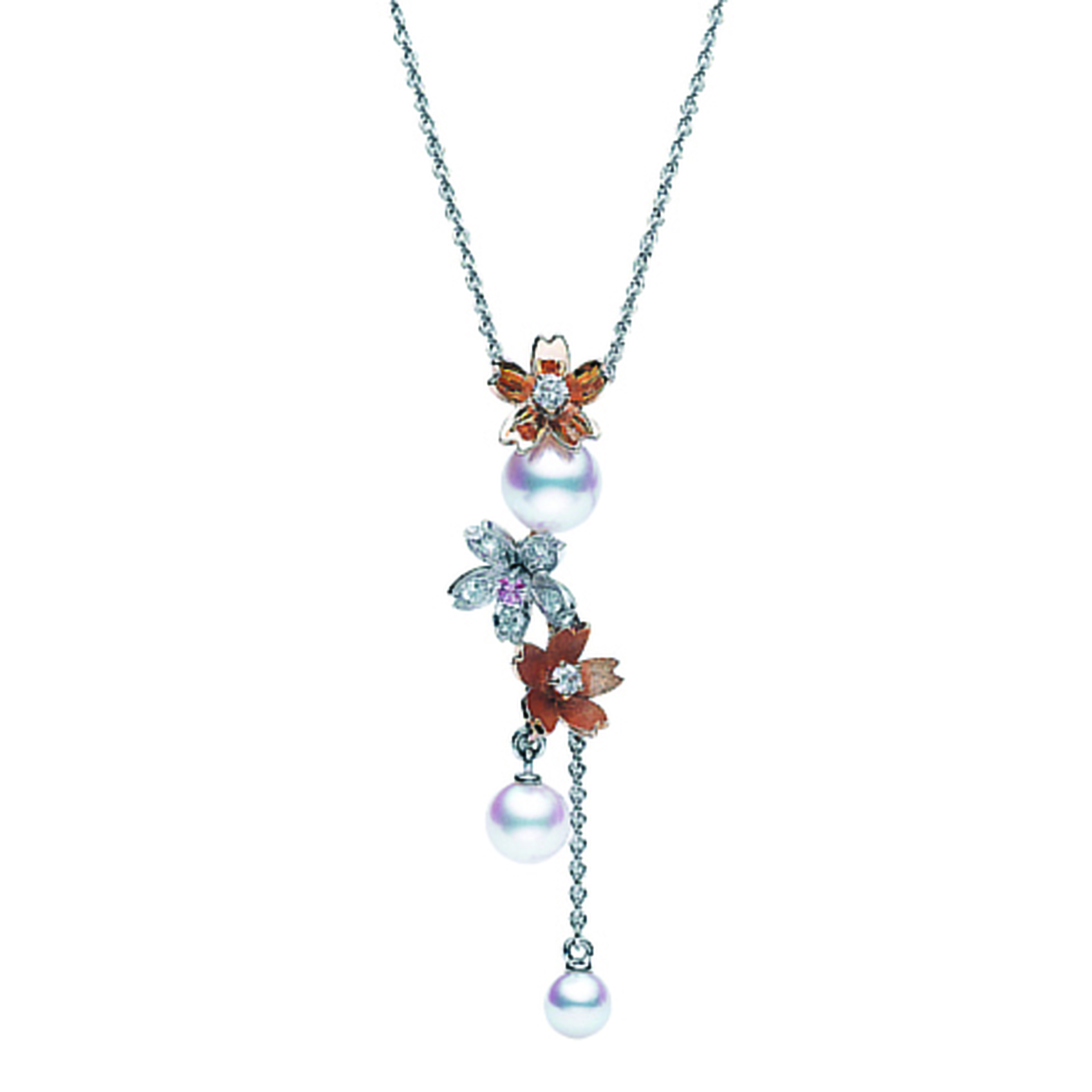 Mikimoto Blossom Pearl and Diamond Necklet