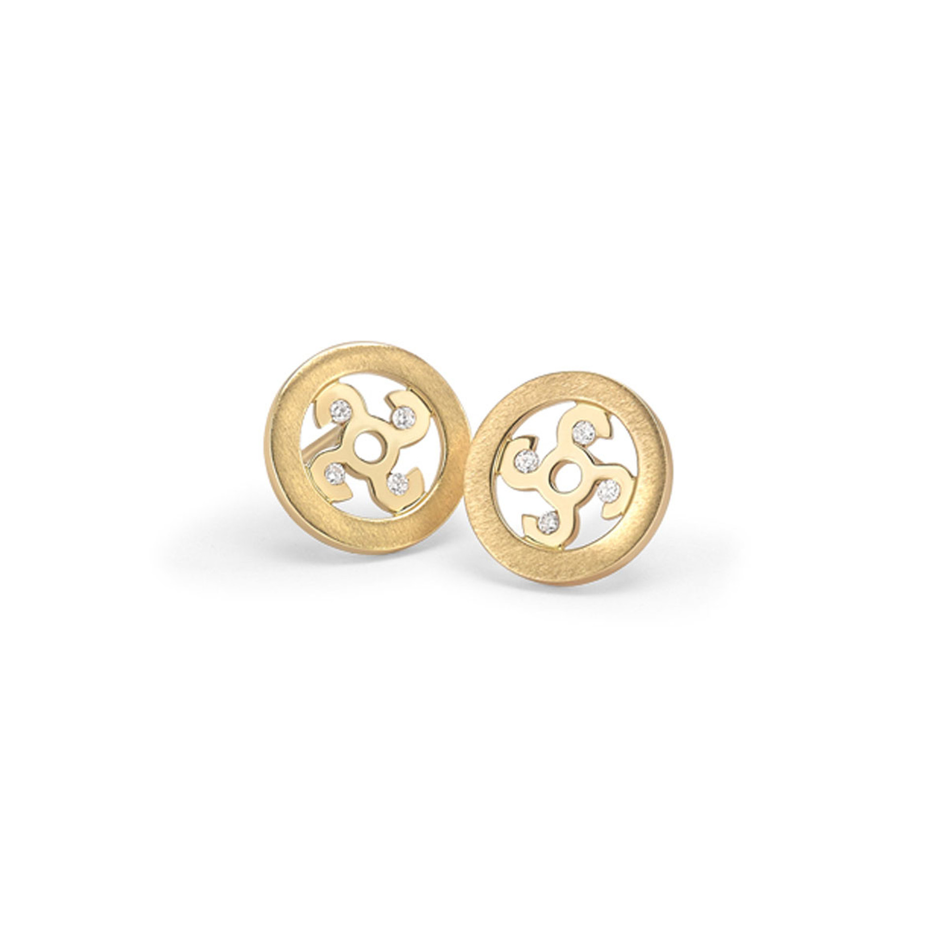 Rudells Wheel 18ct Yellow Gold and Diamond Earrings